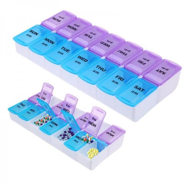 Pilulier Semainier à 14 Compartiments pour Matin et Soir