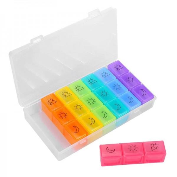 Pilulier Semainier - Organisateur de Pilules Hebdomadaire en Plastique avec 21 Cases
